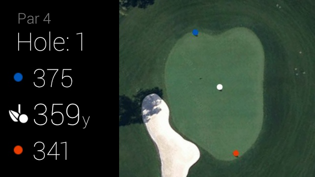 GolfSight for Google Glass, vignette of Augusta National hole 1